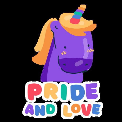 Orgullo y amor unicornio pegatina