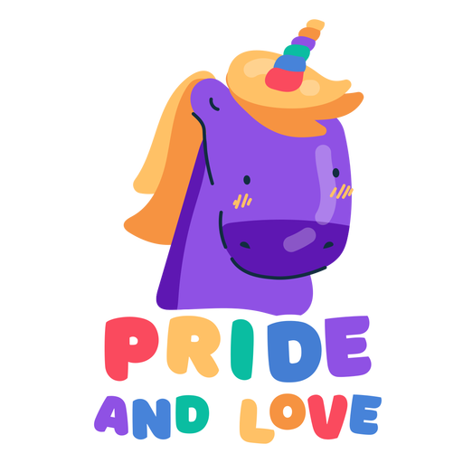 Pride and love unicorn sticker Transparent PNG