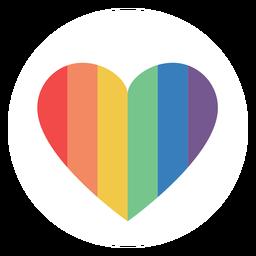 Arco-íris colorido coração plana