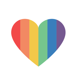 Corazón de color arco iris plano