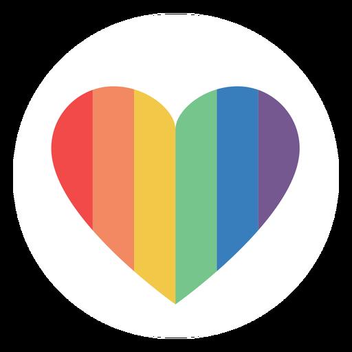 Corazón de color arco iris plano Transparent PNG