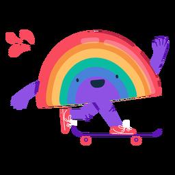 Personagem de skate de arco-íris