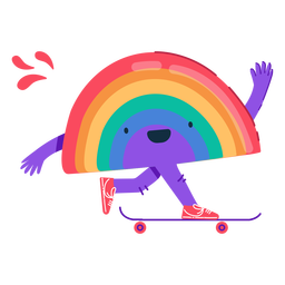 Rainbow skateboarding character