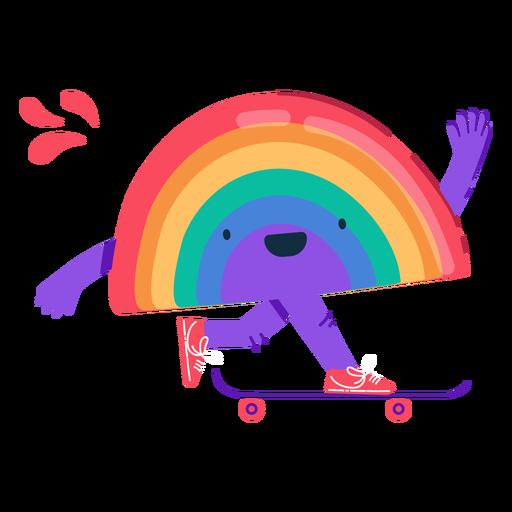 Personagem de skate do arco-íris