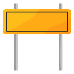 Rectangle traffic sign with poles flat