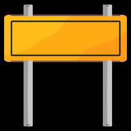 Señal de tráfico rectangular con postes planos