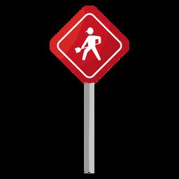 Signo de trabajo en carretera plana