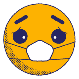 Emoji triste con mascarilla plana