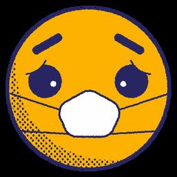 Triste emoji con mascarilla plana