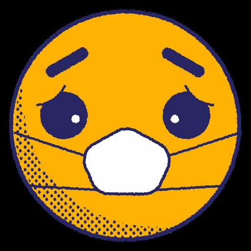 Sad emoji with face mask flat