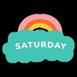 Etiqueta de arco iris de sábado