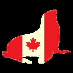 Sello con bandera de canadá plana