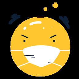 Emoji enojado brillante con mascarilla plana