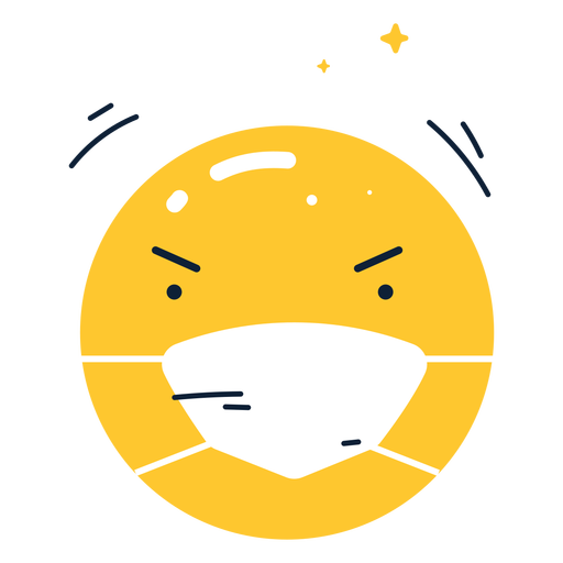 Shiny angry emoji with face mask flat