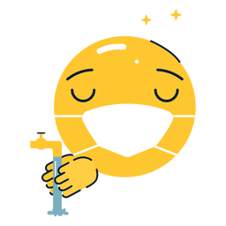 Emoji brillante lavándose las manos planas