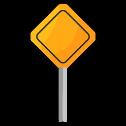 Señal de tráfico cuadrada en poste plano