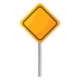 Square traffic sign in pole flat