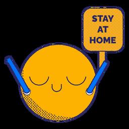 Fique em casa emoji plana