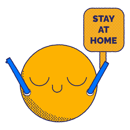 Quedarse en casa emoji plana