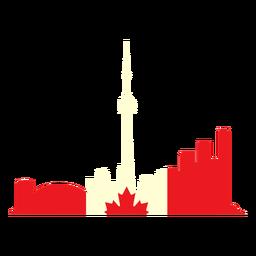 Paisaje de Toronto en la bandera de Canadá plana