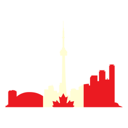 Toronto landscape on canada flag flat
