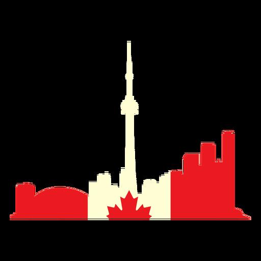 Toronto landscape on canada flag flat