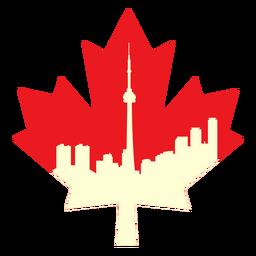 Toronto landscape on maple leaf flat
