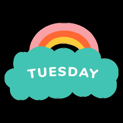 Etiqueta de arco iris de martes