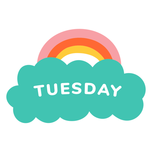 Tuesday rainbow label Transparent PNG