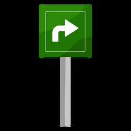 Gire a la derecha señal plana