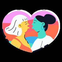 Pegatina dos chicas besándose