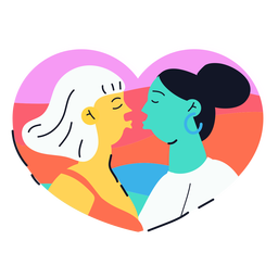 Two girls kissing sticker