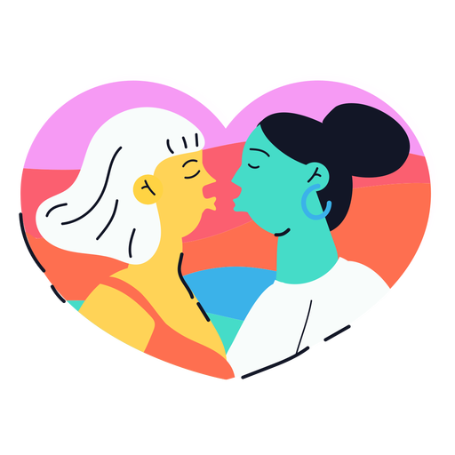 Two girls kissing sticker Transparent PNG