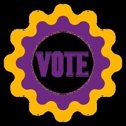 Vote no emblema violeta e amarelo