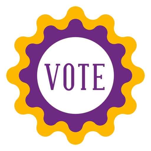 Vote violet and yellow badge