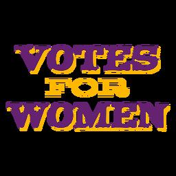Votos para mulheres rotulando votos