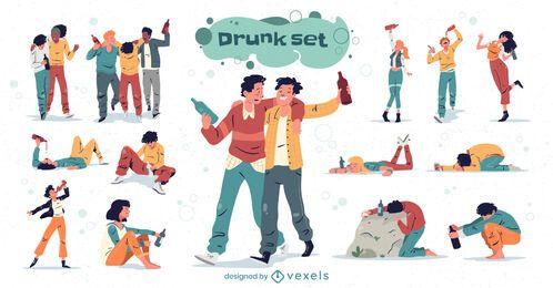 Pacote de personagens de pessoas bêbadas