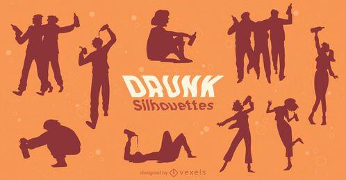Pacote de silhueta de pessoas bêbadas