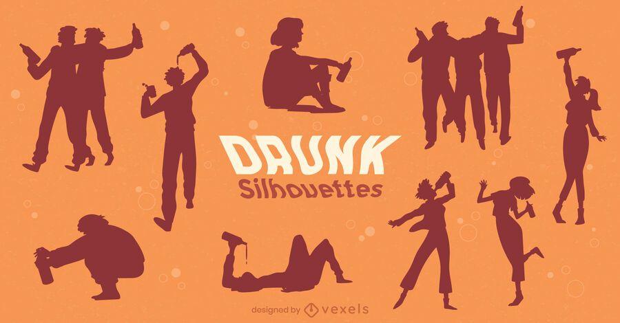 Drunk People Silhouette Pack