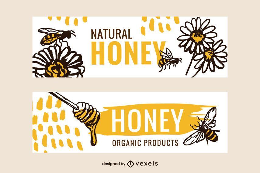 Natural honey banner set