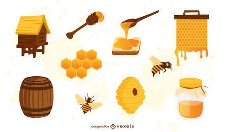 Conjunto de ilustración de elementos de miel