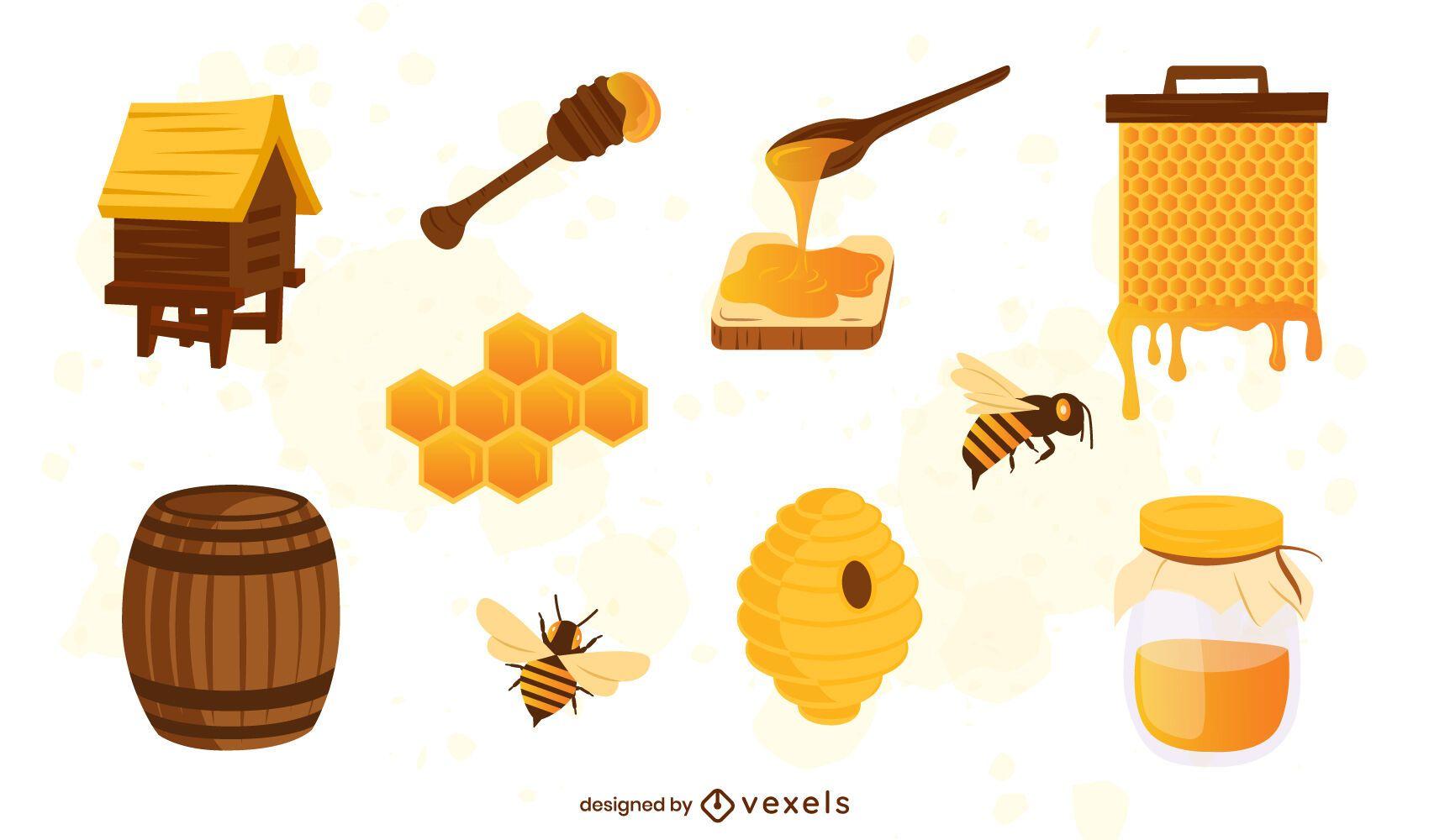 Honey elements illustration set