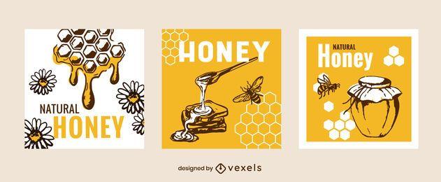 Conjunto de banner cuadrado de miel natural