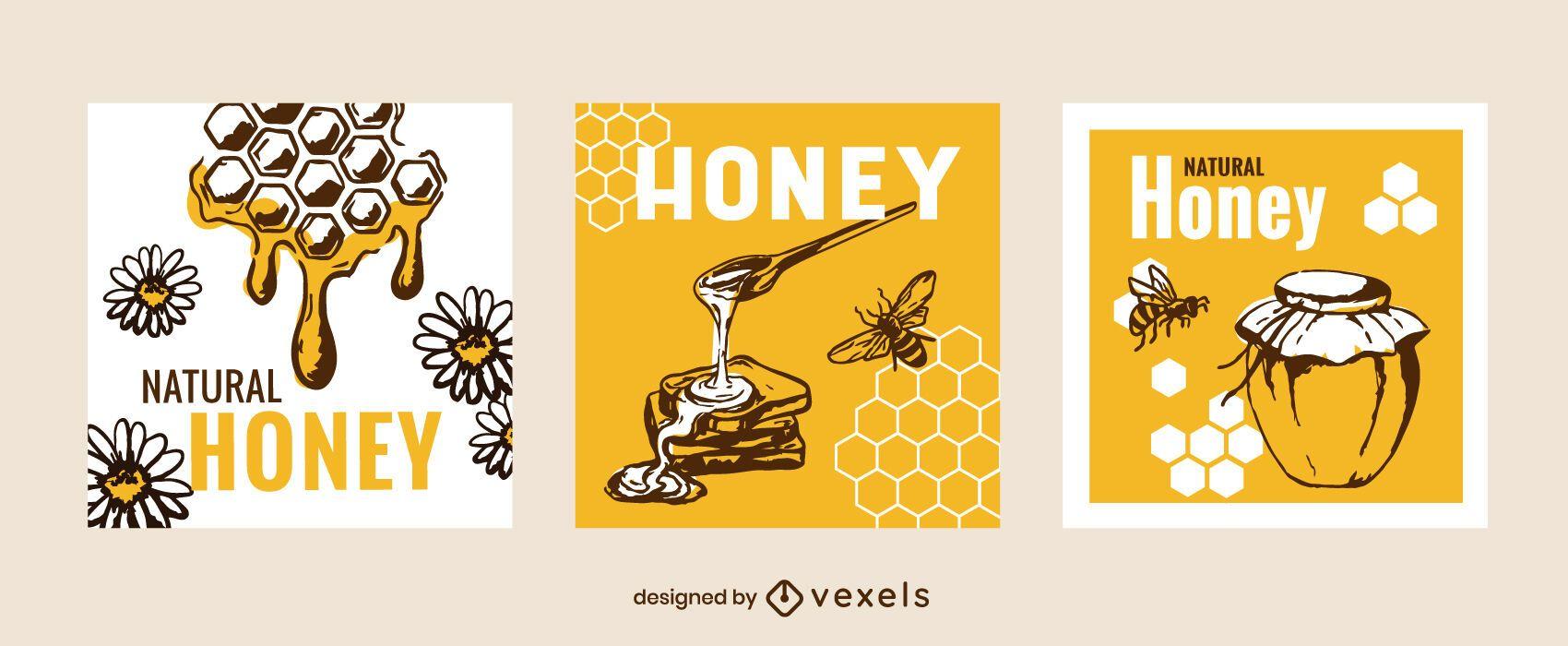 Natural honey square banner set