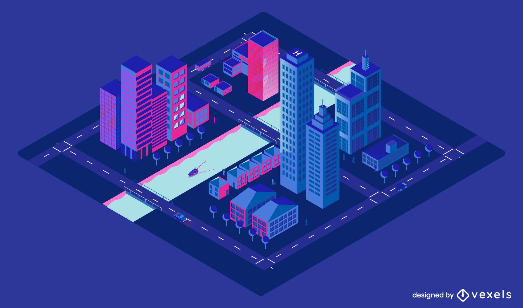 Diseño isométrico de la noche de la ciudad.