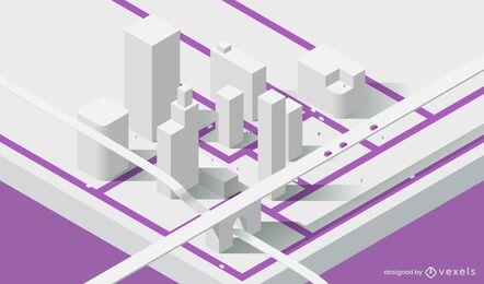 Diseño isométrico del modelo de ciudad
