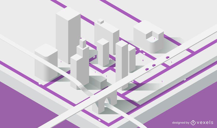 Diseño isométrico del modelo de ciudad.