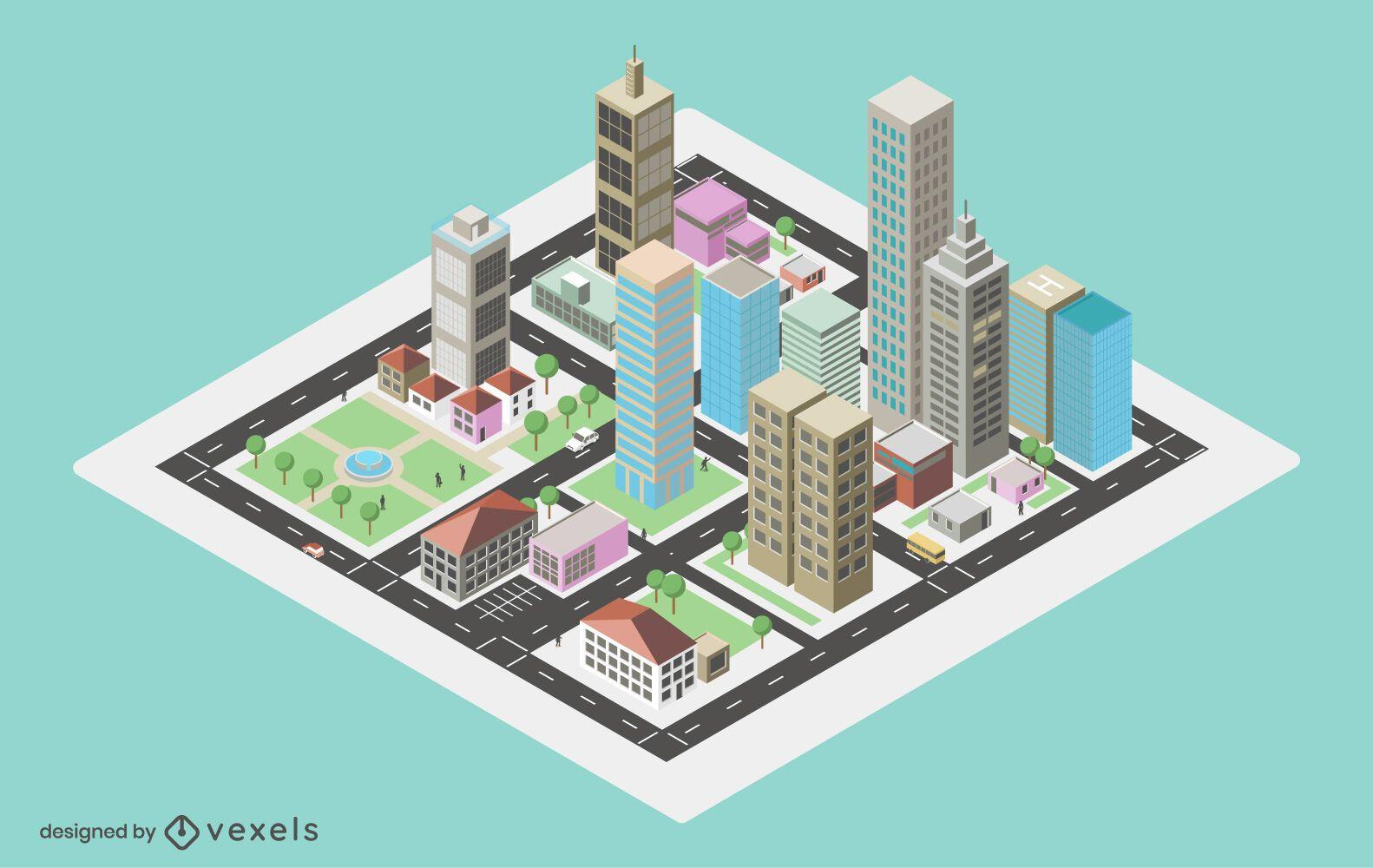Diseño isométrico de la ciudad de la luz del día.