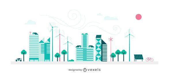 Diseño del horizonte de la ciudad verde