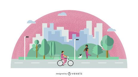 Flat Design City Park Illustration